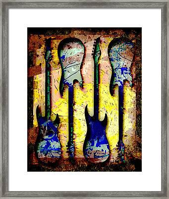 Abstract Guitars Framed Print by David G Paul