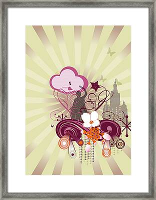 Abstract Illustration With Building And Statue Framed Print by Stock4b-rf