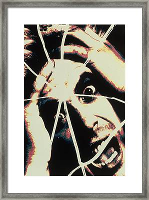 Abstract Image Of Man With Shattered Personality Framed Print by Victor De Schwanberg