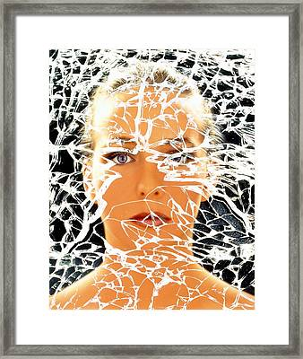 Abstract Image Of Woman With Shattered Personality Framed Print by Mehau Kulyk