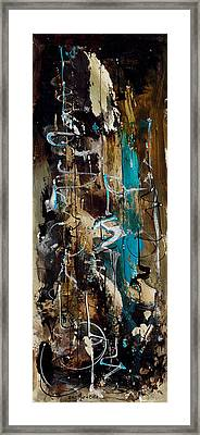 Abstract In Blue And Brown Framed Print