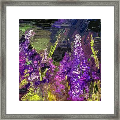 Abstract Lupines Decorative Art By Ginette Framed Print by Ginette Callaway