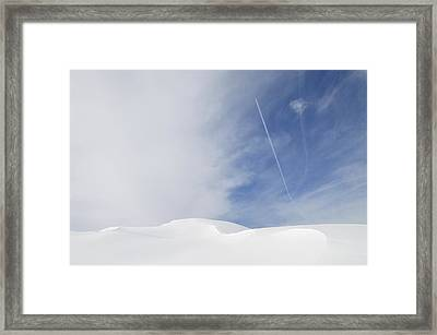Abstract Minimalist Winter Landscape - Snow And Blue Sky Framed Print by Matthias Hauser