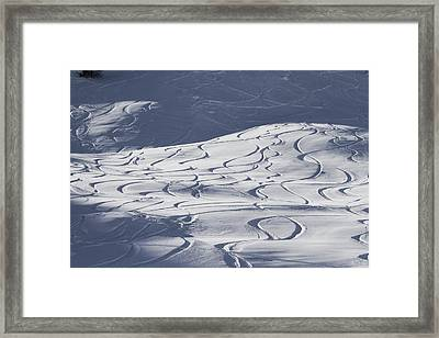 Abstract Pattern Of Ski Lines On Slope Framed Print by Gerhard Fitzthum