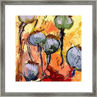 Abstract Poppy Pods Square Format Framed Print by Ginette Callaway
