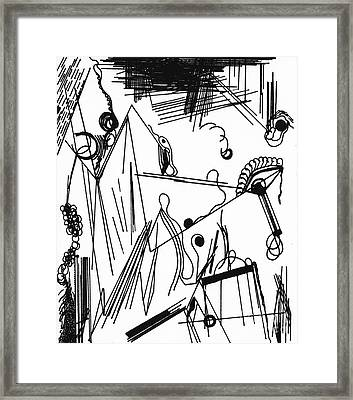 Framed Print featuring the drawing Abstract Postcard 1 by Christine Perry