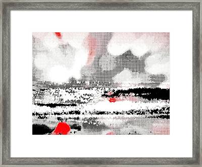 Abstract Seascape -- Black White Red Framed Print by Brian D Meredith
