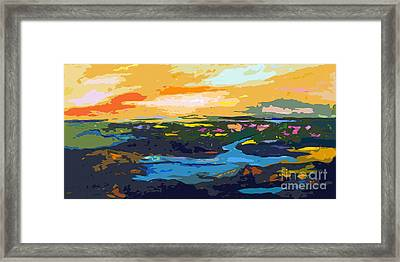 Abstract Sunset Landscape Waterways Framed Print by Ginette Callaway