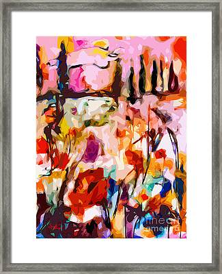 Abstract Tuscan Poppy Landscape Framed Print