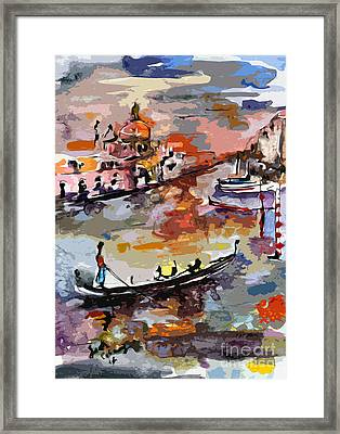Abstract Venice Italy Gondolas Framed Print by Ginette Callaway
