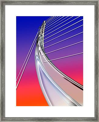 Abstract Wired Steel Arc On Rainbow Neon Framed Print
