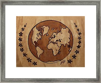 Abstract World Globe Map Coffee Painting Framed Print