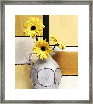 Abstract Yellow Daisies Framed Print by Marsha Heiken