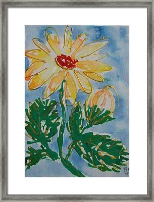 Abstract Yellow Daisy Framed Print by Jan Soper