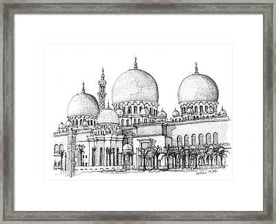 Abu Dhabi Masjid In Ink  Framed Print by Adendorff Design