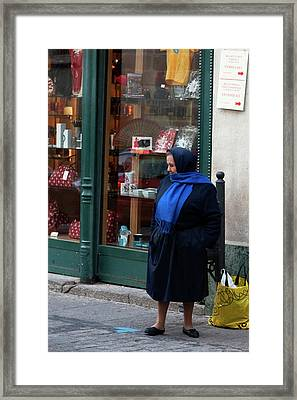 Abuela Has A Blue Scarf Framed Print by Lorraine Devon Wilke