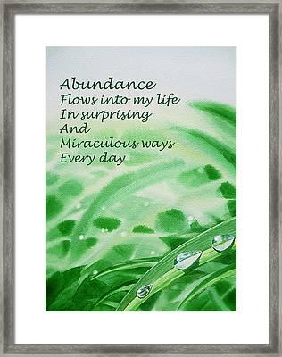 Abundance Affirmation Framed Print by Irina Sztukowski