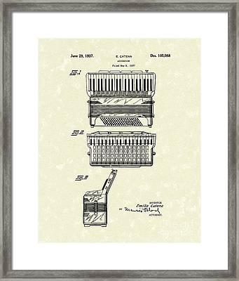 Accordion 1937 Patent Art Framed Print