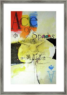 Framed Print featuring the mixed media Ace Of Spades 25-52 by Cliff Spohn