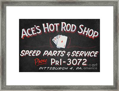 Ace's Hot Rod Shop Framed Print