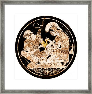 Achilles Tending Patroclus Wounds Framed Print