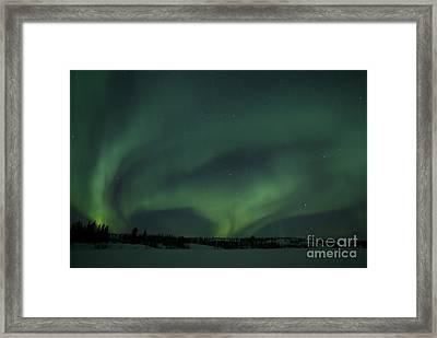 Active Aurora Over Vee Lake Framed Print by Yuichi Takasaka