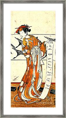 Actor Onoe Tamizo Writing 1774 Framed Print