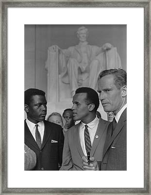 Actors Sidney Poitier, Charlton Heston Framed Print by Everett