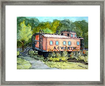 Framed Print featuring the painting Acworth Caboose by Gretchen Allen