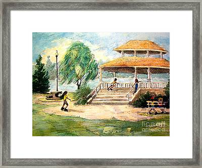 Framed Print featuring the painting Acworth Park by Gretchen Allen