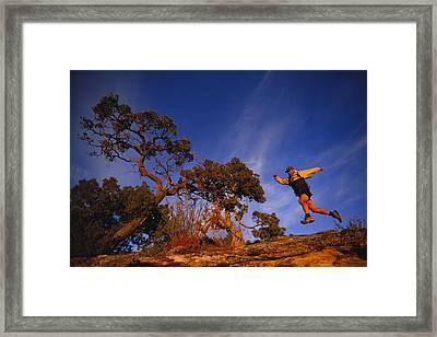 Adam Lederer Trail-runs Near Dolores Framed Print by Bill Hatcher