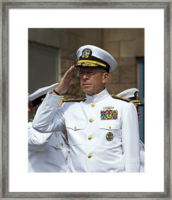 Admiral Michael Mullen Salutes Framed Print by Michael Wood