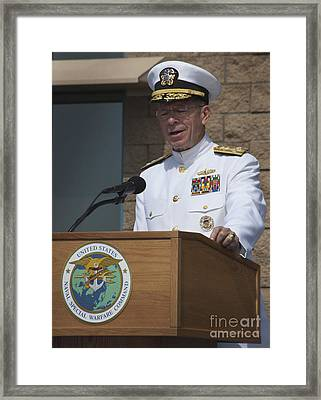 Admiral Mike Mullen Speaks Framed Print by Michael Wood