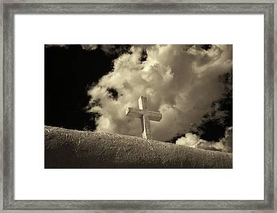 Adobe And Cross Framed Print by Christine Hauber