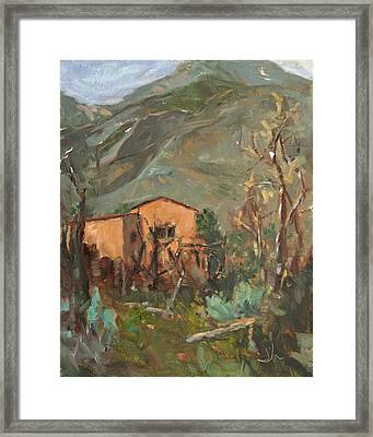 Adobe And Taos Mountains Framed Print by Jennifer Riefenberg