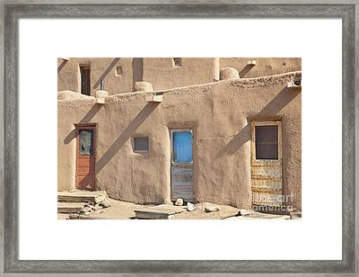 Adobe Buildings Of Taos Framed Print