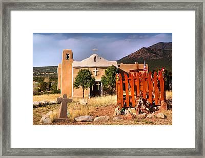 Adobe Church At Golden Framed Print