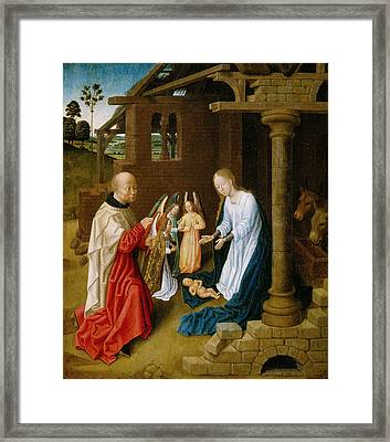 Adoration Of The Christ Child  Framed Print by Master of San Ildefonso