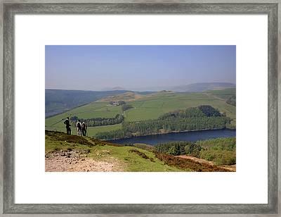 Adult Walkers In The Upper Derwent Valley, Overlooking Ladybower Reservoir, Peak District National Park, Derbyshire, England, Uk, Framed Print by Dave Porter Peterborough Uk