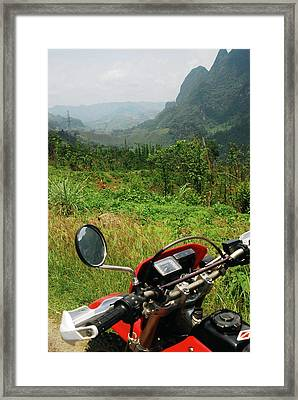 Adventure Motorbike Trip Through Mountains, Laos Framed Print