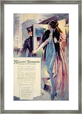 Advertisement For Modart Corsets, 1920 Framed Print by Everett