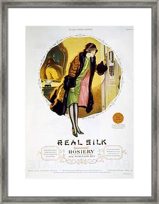 Advertisement For Real Silk Brand Framed Print by Everett