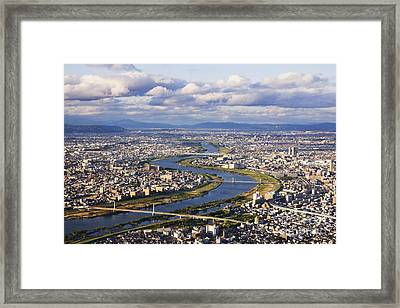 Aerial Japanese Cityscape And River Framed Print