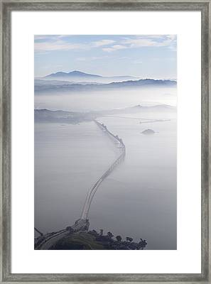 Aerial Landscape Of Richmond-san Rafael Bridge, Looking East With Clearing Morning Fog And Mt Diablo In Background, San Francasco Bay, California, Usa Framed Print