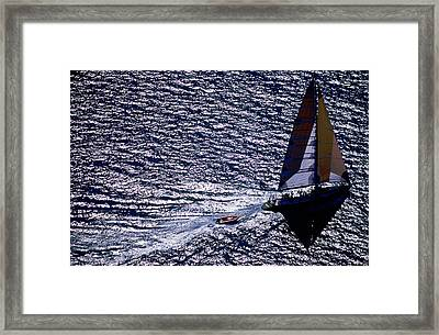 Aerial Of Excursion Yacht 'apollo', Whitsunday Islands National Park, Queensland, Australia, Australasia Framed Print by Holger Leue