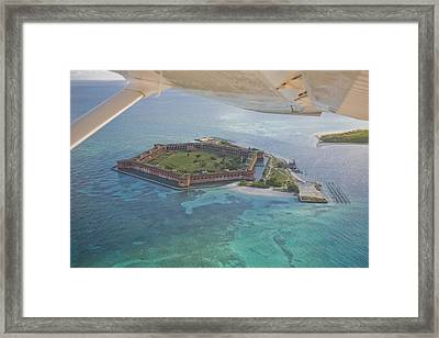 Aerial Of Fort Jeffereson, At Dry Framed Print by Mike Theiss