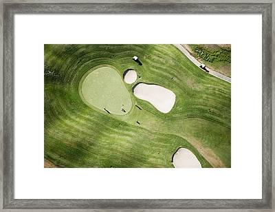 Aerial Of Golfers On Green Of Tierra Del Sol Golf Course Framed Print by Holger Leue