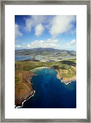 Aerial Of Hanauma Bay Framed Print by Ron Dahlquist - Printscapes