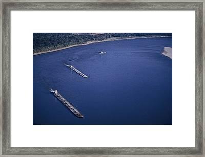 Aerial Of Mississippi River Framed Print by Kenneth Garrett