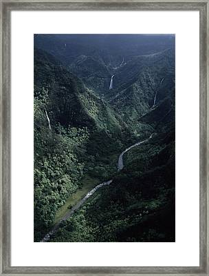 Aerial Of Olekole Canyon Framed Print by Ira Block
